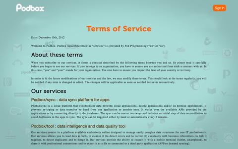 Screenshot of Terms Page podbox.com - Podbox - the data cleaning tool - captured Sept. 19, 2014