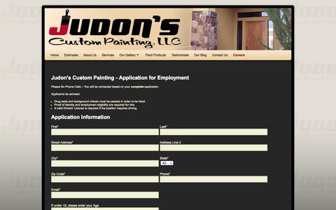 Screenshot of Jobs Page judonspainting.com - Careers - Judon's Custom Painting LLC - captured Oct. 6, 2014