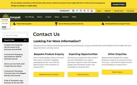 Screenshot of Contact Page invopak.co.uk - Contact Us / Contact Us / Invopak - captured July 27, 2018
