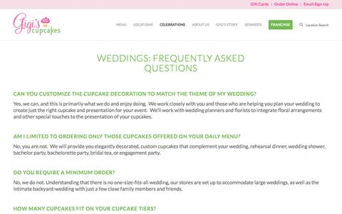 Screenshot of FAQ Page gigiscupcakesusa.com - Weddings: Frequently Asked Questions - Gigis Cupcakes - captured Sept. 17, 2016