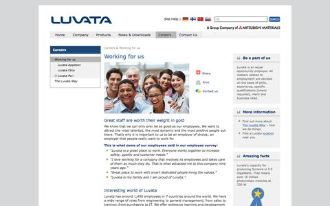 Screenshot of Jobs Page luvata.com - Working for us | Luvata - captured July 24, 2018