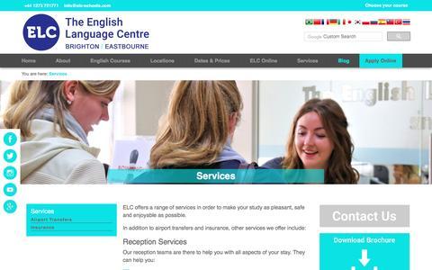 Screenshot of Services Page elc-schools.com - Services | English School in England, UK: ELC Schools - captured May 5, 2017