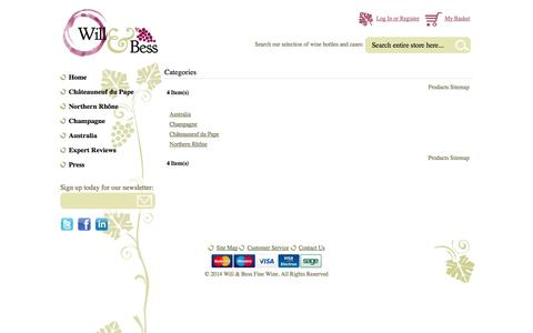 Screenshot of Site Map Page willandbess.com - Will & Bess Fine Wine - captured Oct. 9, 2014