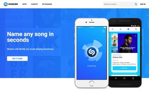 Screenshot of Home Page shazam.com - Shazam - Music Discovery, Charts & Song Lyrics - captured Nov. 19, 2016