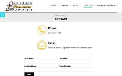 Screenshot of Contact Page 123greensboronclocksmith.com - Contact - King Locksmith - captured Oct. 15, 2018