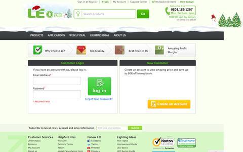 Screenshot of Login Page lightingever.co.uk - Customer Login - captured Dec. 9, 2015