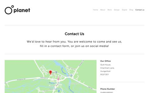 Screenshot of Contact Page planet-ia.com - Planet Interactive - Your Local Berkshire Design Agency | Planet IA - captured Sept. 28, 2018