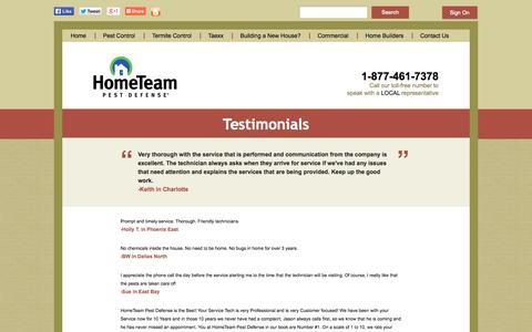 Screenshot of Testimonials Page pestdefense.com - HomeTeam Pest Defense & Taexx Reviews and Testimonials - captured Sept. 19, 2014