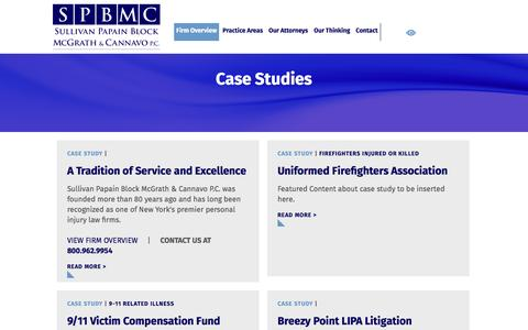 Screenshot of Case Studies Page triallaw1.com - Firm Case Studies | Sullivan Papain Block McGrath & Cannavo P.C. - captured Dec. 2, 2016