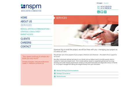 Screenshot of Services Page nspm.com - nspm.ltd - Medical Writing & Communications - captured Oct. 26, 2014