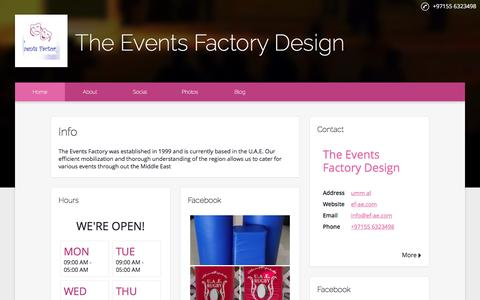Screenshot of Home Page ef-ae.com - The Events Factory Design - captured Nov. 30, 2016