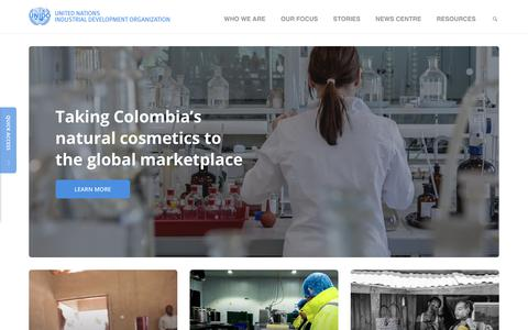 Screenshot of Home Page unido.org - UNIDO | United Nations Industrial Development Organization - captured July 25, 2018