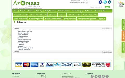 Screenshot of Site Map Page aromaazinternational.com - Site Map - captured May 30, 2017