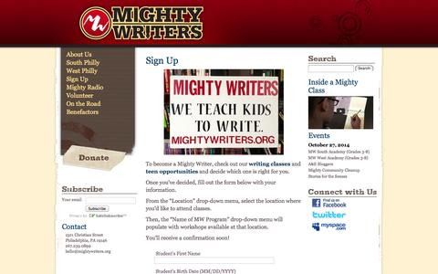 Screenshot of Signup Page mightywriters.org - Sign Up | Mighty Writers - captured Oct. 27, 2014