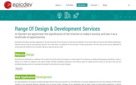 Screenshot of Services Page epicdev.co.za - Range of Design and Development services - captured May 19, 2017