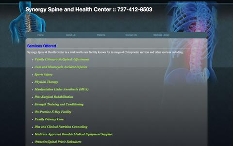 Screenshot of Services Page drericnye.com - Clearwater Chiropractor:Chiropractors in Clearwater,FL:Palm Harbor Chiropractor: - captured Oct. 6, 2014