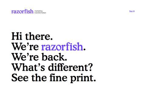 Screenshot of Home Page razorfish.com - razorfish - captured Feb. 13, 2020