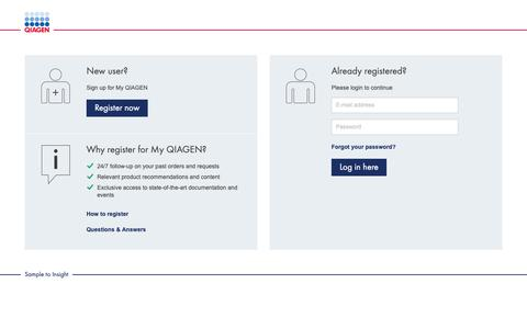 Screenshot of Login Page qiagen.com - QIAGEN - Sample to Insight - captured Oct. 1, 2018