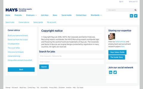 Copyright notice  | Hays