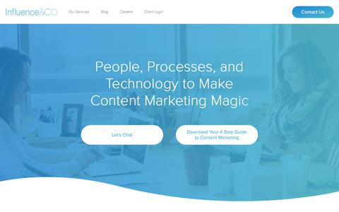 Screenshot of Services Page influenceandco.com - Content Marketing Services | Influence & Co. - captured April 13, 2018