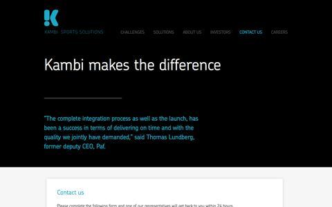 Screenshot of Contact Page kambi.com - KAMBI / Contact  / - captured Sept. 18, 2014
