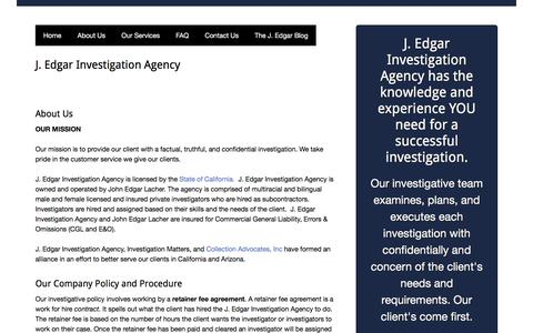 Screenshot of About Page jedgarpi.com - About Us - J. Edgar Investigation Agency - captured Sept. 29, 2017