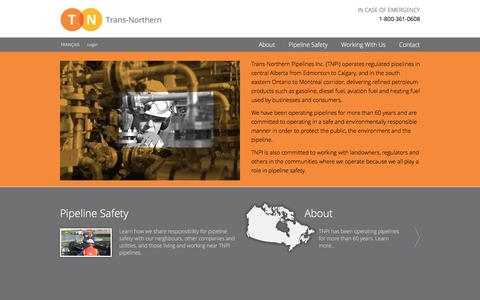 Screenshot of Home Page tnpi.ca - Trans-Northern Pipelines Inc. - captured March 2, 2016
