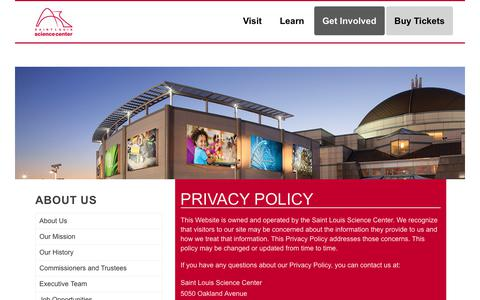 Screenshot of Privacy Page slsc.org - Privacy Policy – Saint Louis Science Center - captured Oct. 4, 2017