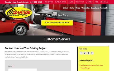 Screenshot of Support Page potomacgaragesolutions.com - Customer Service - Potomac Garage Solutions DC | MD | VA - captured July 15, 2016