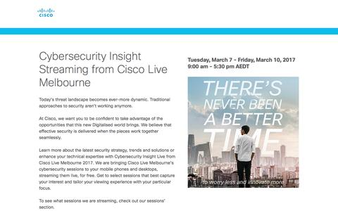 Screenshot of Landing Page cisco.com - Cisco Cybersecurity Insight Streaming - captured March 24, 2017