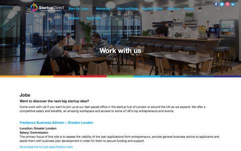 Screenshot of Jobs Page startupdirect.org - Work for Startup Direct - captured June 17, 2017