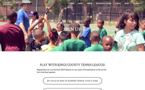 Screenshot of Signup Page kingscountytennisleague.org - Sign Up — Kings County Tennis League - captured June 9, 2017