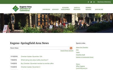 Screenshot of Press Page eugenechamber.com - Eugene-Springfield Area  News   Eugene-Springfield Area   Eugene Area Chamber of Commerce   Eugene, OR - captured Nov. 11, 2016