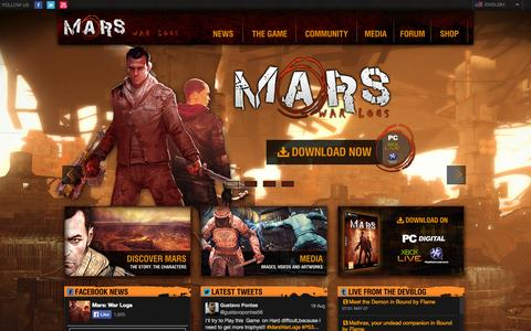 Screenshot of Home Page mars-warlogs.com - Mars: War Logs - captured Sept. 19, 2014