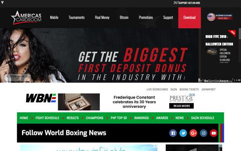 Screenshot of Home Page worldboxingnews.net - WBN - World Boxing News - Boxing Reports and Interviews - captured Oct. 19, 2018