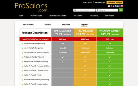 Screenshot of Signup Page prosalons.com - Hair And Beauty Salons Membership Registration for Pro Salons - captured Sept. 30, 2014