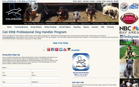 Screenshot of Jobs Page calik9.com - Careers    Dog Training San Jose - Bay Area Dog Trainer - Cali K9® - captured Oct. 1, 2014