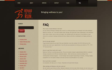 Screenshot of FAQ Page rehabontheruninc.com - FAQ  |  Rehab on the Run Inc. - captured Nov. 5, 2014