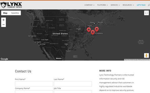 Screenshot of Contact Page lynxgrc.com - CONTACT - Lynx Technology Partners - captured Feb. 20, 2020