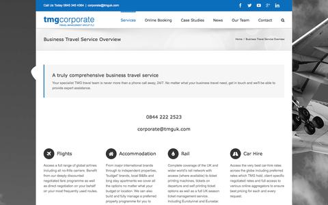 Screenshot of Services Page tmgcorporate.com - Comprehensive Business Travel Service Summary - captured Nov. 17, 2015