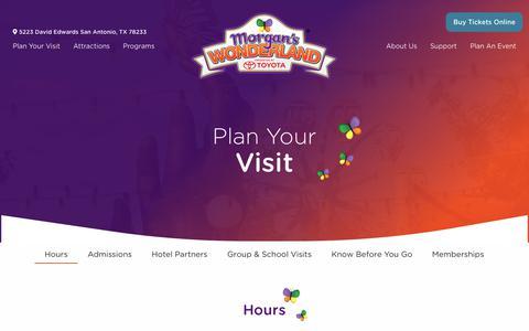 Screenshot of Hours Page morganswonderland.com - Plan Your Visit - Morgan's Wonderland - captured Dec. 12, 2018