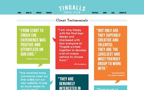 Screenshot of Testimonials Page tingalls.com - Testimonials for Tingalls Graphic Design   Logo Design in Madison Wisconsin - captured Feb. 17, 2016