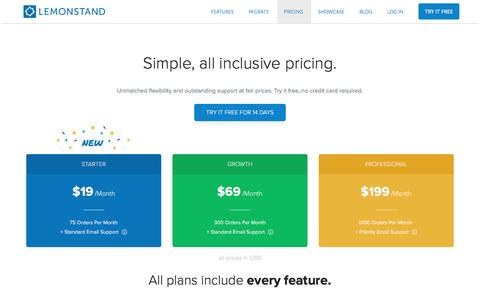 Screenshot of Pricing Page lemonstand.com - LemonStand Cloud eCommerce Platform Pricing | LemonStand - captured March 4, 2017