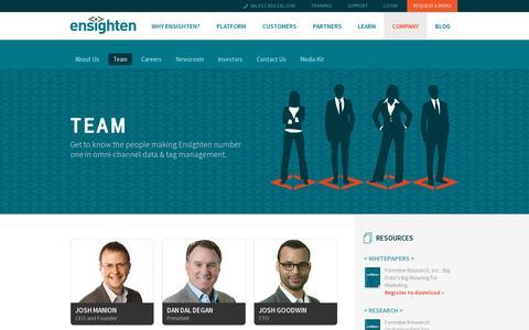 Screenshot of Team Page ensighten.com - Team | Ensighten - captured July 19, 2014
