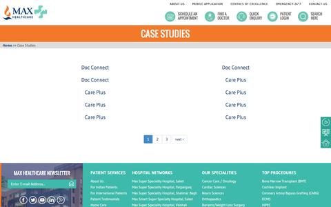 Screenshot of Case Studies Page maxhealthcare.in - Case Studies | Max Healthcare - captured Jan. 23, 2017