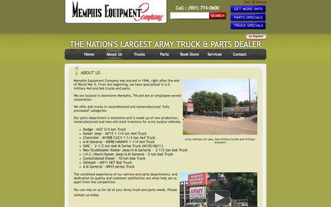 Screenshot of About Page memphisequipment.com - Army vehicles for sale | Army trucks surplus | 6x6 military trucks, military wrecker - captured Oct. 27, 2014