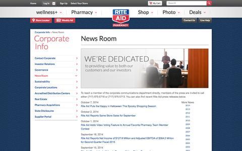 Screenshot of Press Page riteaid.com - Newsroom – Rite Aid - captured Oct. 10, 2014