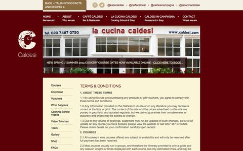 Screenshot of Terms Page caldesi.com - Terms & Conditions | Changes to booking | Caldesi - Italian Restaurant & Cookery School - captured Oct. 1, 2014