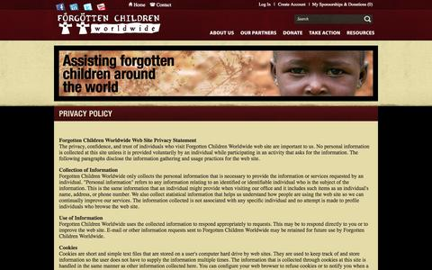 Screenshot of Privacy Page forgottenchildren.org - Assisting orphans and vulnerable children worldwide | Forgotten Children Worldwide - captured Oct. 6, 2014