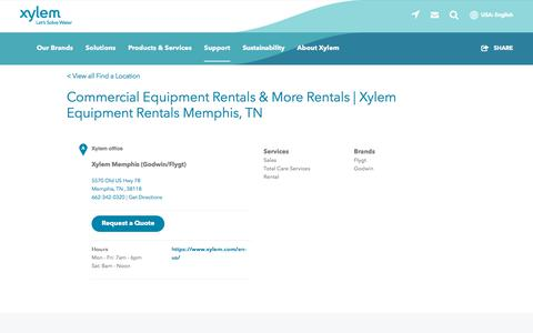 Screenshot of Support Page xylem.com - Commercial Equipment Rentals & More Rentals   Xylem Equipment Rentals Memphis, TN   Xylem US - captured Nov. 9, 2019